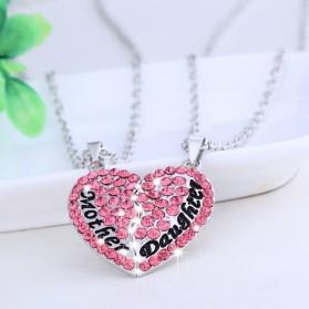 Kalung Pasangan Bentuk Hati Ibu dan Anak / Couple Necklace - Pink - 4