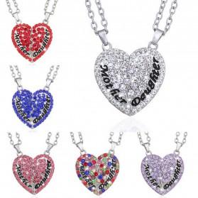 Kalung Pasangan Bentuk Hati Ibu dan Anak / Couple Necklace - Pink - 5