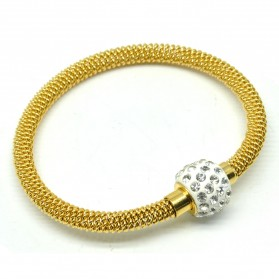 Gelang Bangles Wanita 18K Gold Plated Metal Chain Bracelet - Golden