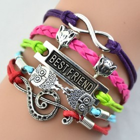 Gelang Vintage Best Friend Forever Charm Leather Bracelet Bangle Women - W5 - Multi-Color