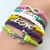 Gelang Vintage Faith Loves Charm Leather Bracelet Bangle Women - Q1 - Multi-Color