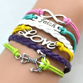 Gelang Vintage Faith Loves Charm Leather Bracelet Bangle Women - Q1 - Multi-Color