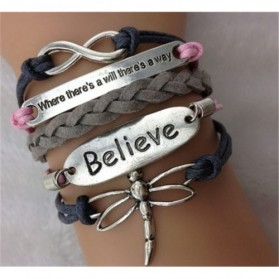 Gelang Vintage Believe  Charm Leather Bracelet Bangle Women - Q3 - Multi-Color