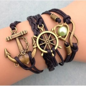 Gelang Vintage Friendship Charm Leather Bracelet Bangle Women - Q4 - Multi-Color