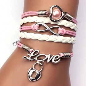 Gelang Vintage Love Heart Leather Bracelet Bangle Women - Q5 - Multi-Color