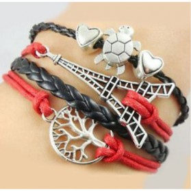 Gelang Vintage Eiffel in Love Charm Leather Bracelet Bangle Women - Q6 - Multi-Color