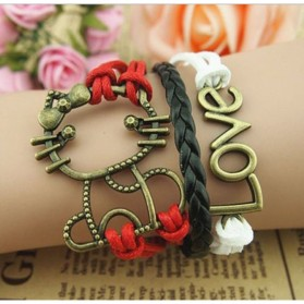 Gelang Vintage Love Cat Leather Bracelet Bangle Women - Q7 - Multi-Color