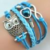 Gelang Vintage Cute Owl Leather Bracelet Bangle Women - Q12 - Multi-Color