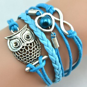 Gelang Vintage Cute Owl Leather Bracelet Bangle Women - Q12 - Multi-Color