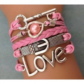 Gelang Vintage Love Keys Leather Bracelet Bangle Women - W14 - Multi-Color