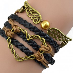 Gelang Vintage Love Wings Leather Bracelet Bangle Women - W1 - Multi-Color