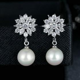 Anting Wanita Zircon Pearls - White - 2