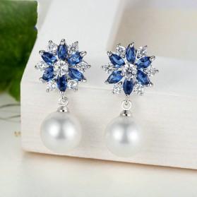 Anting Wanita Zircon Pearls - White - 5