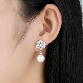 Anting Wanita Zircon Pearls - White - 6