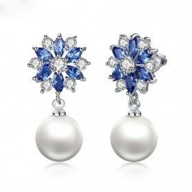 Anting Wanita Zircon Pearls - Blue