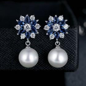 Anting Wanita Zircon Pearls - Blue - 2