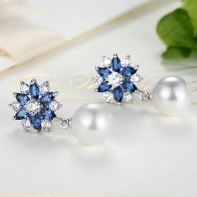 Anting Wanita Zircon Pearls - Blue - 3
