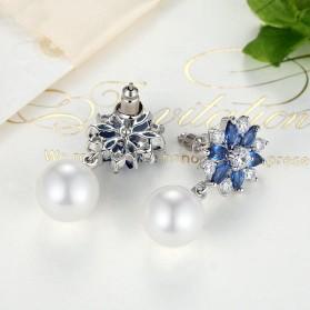 Anting Wanita Zircon Pearls - Blue - 4