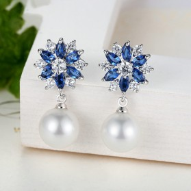Anting Wanita Zircon Pearls - Blue - 5