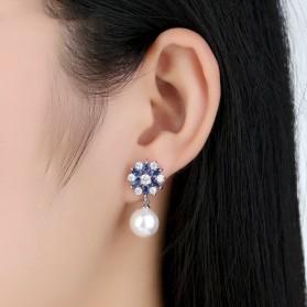 Anting Wanita Zircon Pearls - Blue - 6