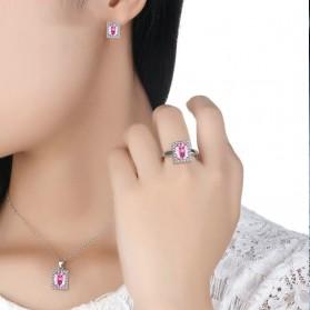Kalung Anting Cincin Wanita Zircon - Pink