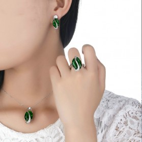 Anting - Kalung Anting Cincin Wanita Opal - Green