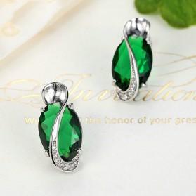 Kalung Anting Cincin Wanita Opal - Green - 6