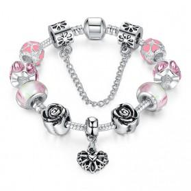 Gelang Wanita Charm Bead - Pink