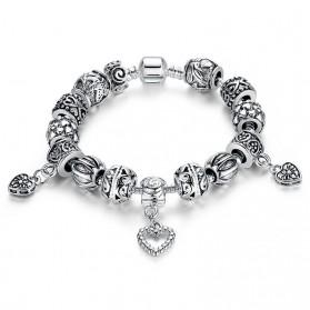 Gelang Wanita Heart Bead - Silver