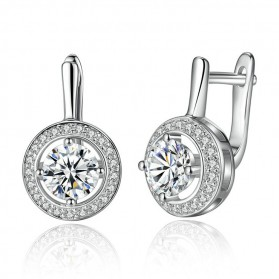 Anting Wanita Round Crystal - Silver