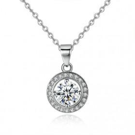 Kalung Wanita Round Crystal - Silver