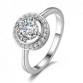Cincin Wanita Round Crystal Size 6 - Silver