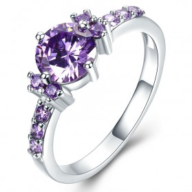 Cincin Wanita Purple Jewel Size 8 - Purple