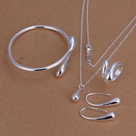 Kalung Anting Cincin Wanita Silver Plated Drop - Silver