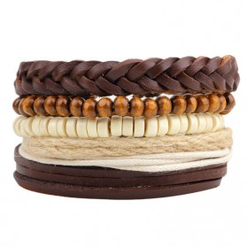 Gelang & Bangles - Gelang Bangle Kulit Vintage Model Rope Wood