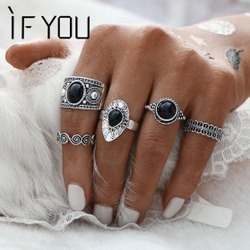 Cincin Midi Ring Turkish Vintage 5 Set - Silver