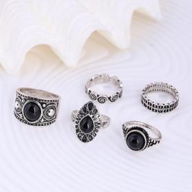 Cincin Midi Ring Turkish Vintage 5 Set - Silver - 2