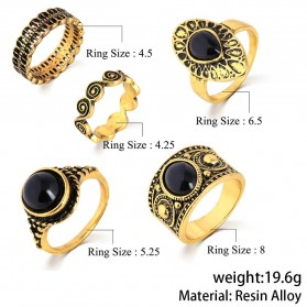 Cincin Midi Ring Turkish Vintage 5 Set - Silver - 4