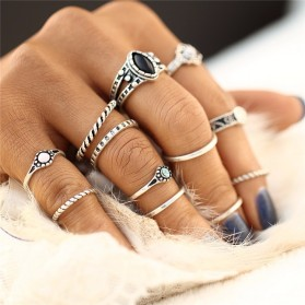 Others - 17KM Cincin Midi Ring Vintage Punk - Silver