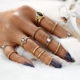 Perhiasan - 17KM Cincin Midi Ring Vintage Punk - Golden