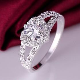 Cincin Silver Plated dengan Mata Kristal Hati - Silver