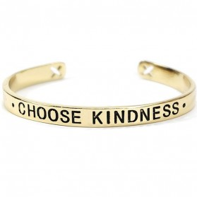 Gelang Bangle Wanita Iron Letter Brave Wish CHOOSE KINDNESS - Golden