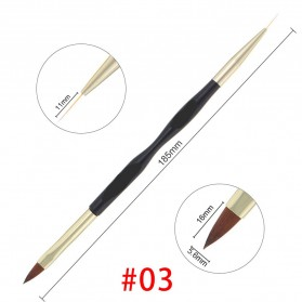 Kuas Aplikator Kutek Kuku Nail Art Dual Head - No.03 - Golden