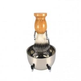 Pembersih Cukur Rambut Baber Salon Pria Shaving Brush dengan Tray - dss003 - Brown - 3
