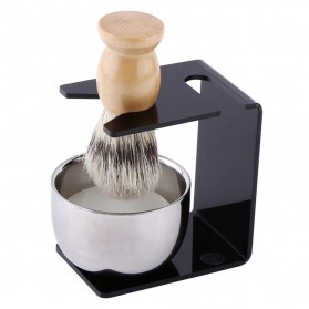 Anbbas Set Tempat Krim Cukur Barber Foam Shaving Handle - 33110 - Brown