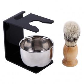 Anbbas Set Tempat Krim Cukur Barber Foam Shaving Handle - 33110 - Brown - 2