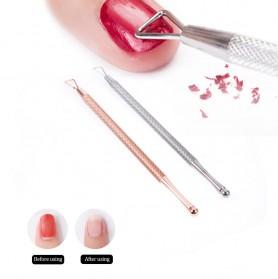 AMEIZII Penghilang Kutek Kuku Gel Polish Remover Culticle Pusher Manicure Nail Art Tool - Elite99 - Silver - 2