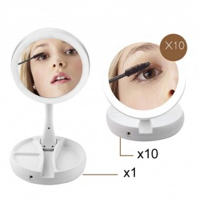 ICOCO Kaca Cermin Make Up Double Side Magnifier My Fold Away Mirror Selfie LED Ring Light - FH-803 - White