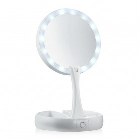ICOCO Kaca Cermin Make Up Double Side Magnifier My Fold Away Mirror Selfie LED Ring Light - FH-803 - White - 2