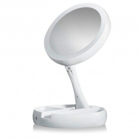 ICOCO Kaca Cermin Make Up Double Side Magnifier My Fold Away Mirror Selfie LED Ring Light - FH-803 - White - 3
